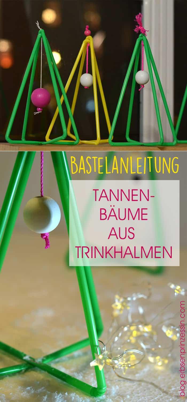 Bastelanleitung: DIY Tannenbäume aus Trinkhalmen, für Weihnachten und Advent basteln