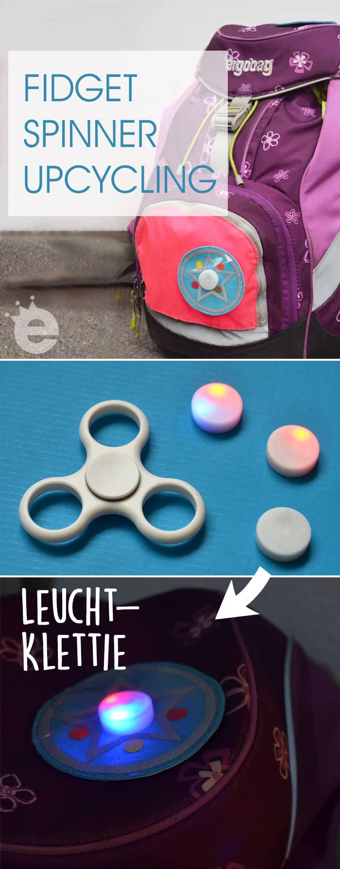 fidget spinner upcycling kletties f r den schulranzen. Black Bedroom Furniture Sets. Home Design Ideas