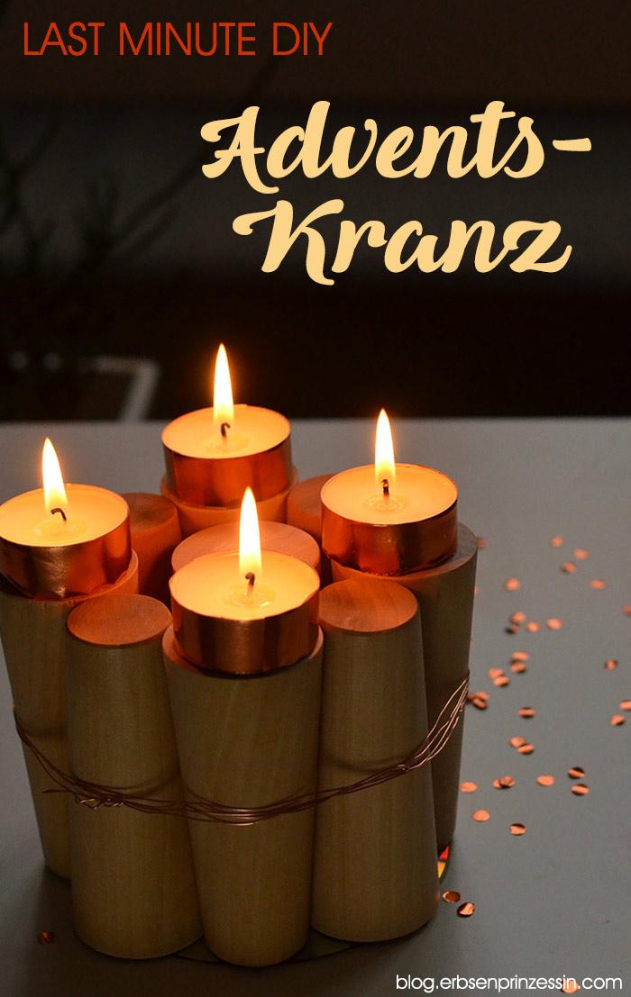 Last Minute DIY-Adventskranz: Minimalistischer Holz-Kerzenhalter, Upcycling-Idee