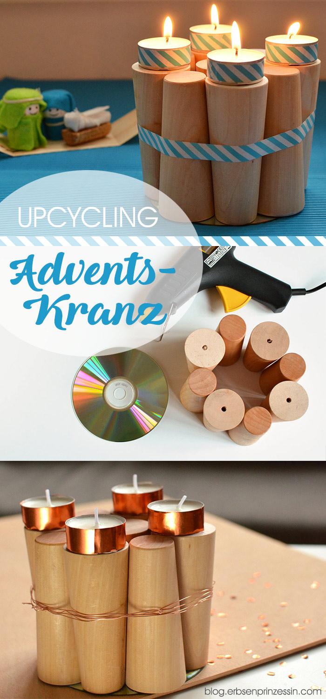 Adventskranz aus Rundhölzern selbermachen: Last-Minute-Upcycling-Idee für die Adventsdeko