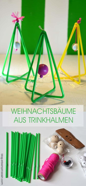 Adventsdeko basteln: Weihnachtsbäume aus Trinkhalmen, DIY-Anleitung mit Plastik-Strohhalmen