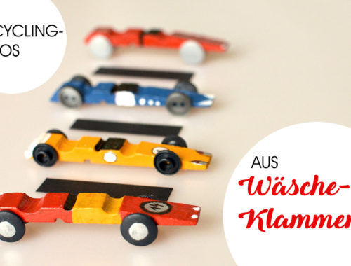 Upcycling-Autos aus Wäscheklammern: Rennwagen basteln, mit Kindern