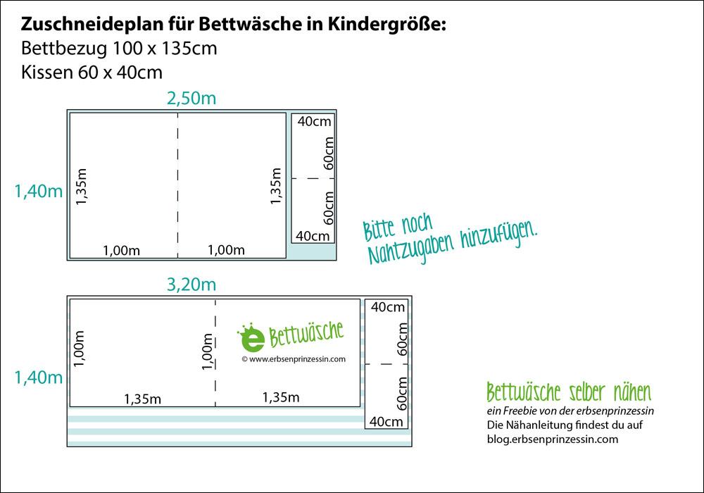 Zuschnittplan für Bettwäsche in Kindergröße, Nähanleitung für kissenbezug und Bettbezug