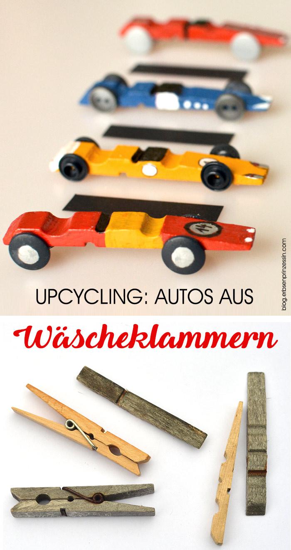 Basteln mit Wäscheklammern: Upcycling-Rennwagen, Autos basteln mit Kindern