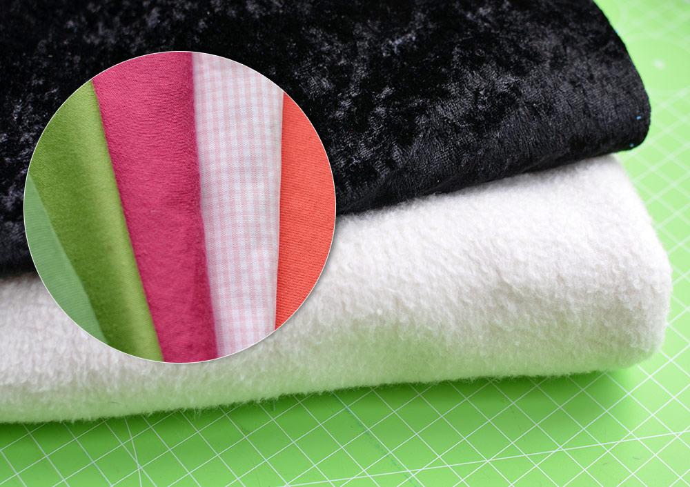 Stoffe für das Sushikissen: Fleece und Pannesamt, Jersey und Baumwolle