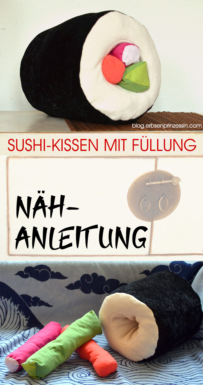 Nähidee für Sushi-Fans: Dicke Maki-Rolle als Kissen selbernähen