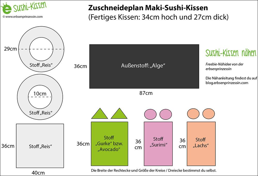 Zuschneideplan für das Suhi-Kissen aus Stoff