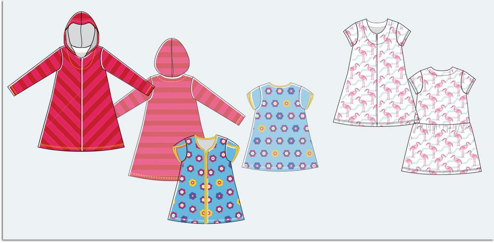 Technische Modezeichnung, Kleidung, Details, Mode-Illustration
