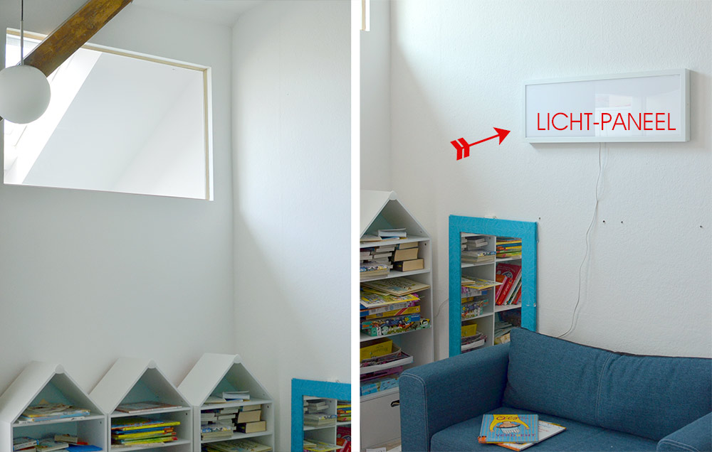 Kinderzimmer: Oberlicht und Lichtpaneel von Ikea