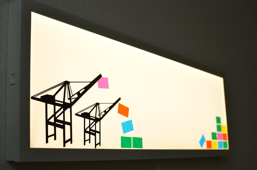 Hafen-Silhouette auf Lichtpaneel: Beleuchtung fürs Kinderzimmer