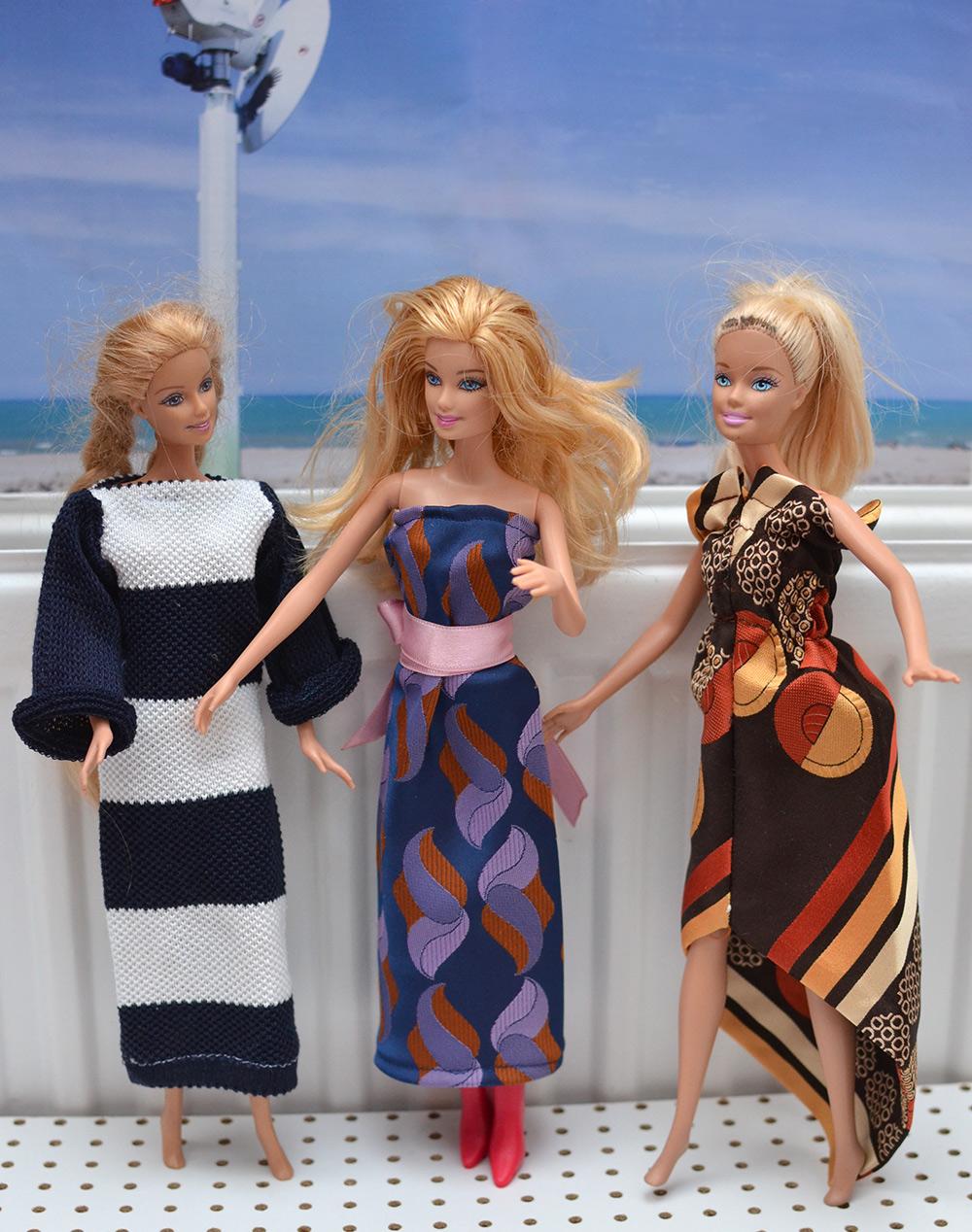 Upcycling-Barbiekleid aus Krawatte, Puppenkleid fast ohne Nähen
