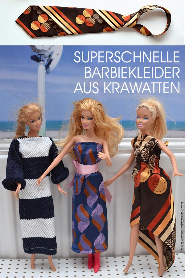 Upcycling-Idee für Ankleidepuppen: Schnelle Barbiekleider aus alten Krawatten nähen