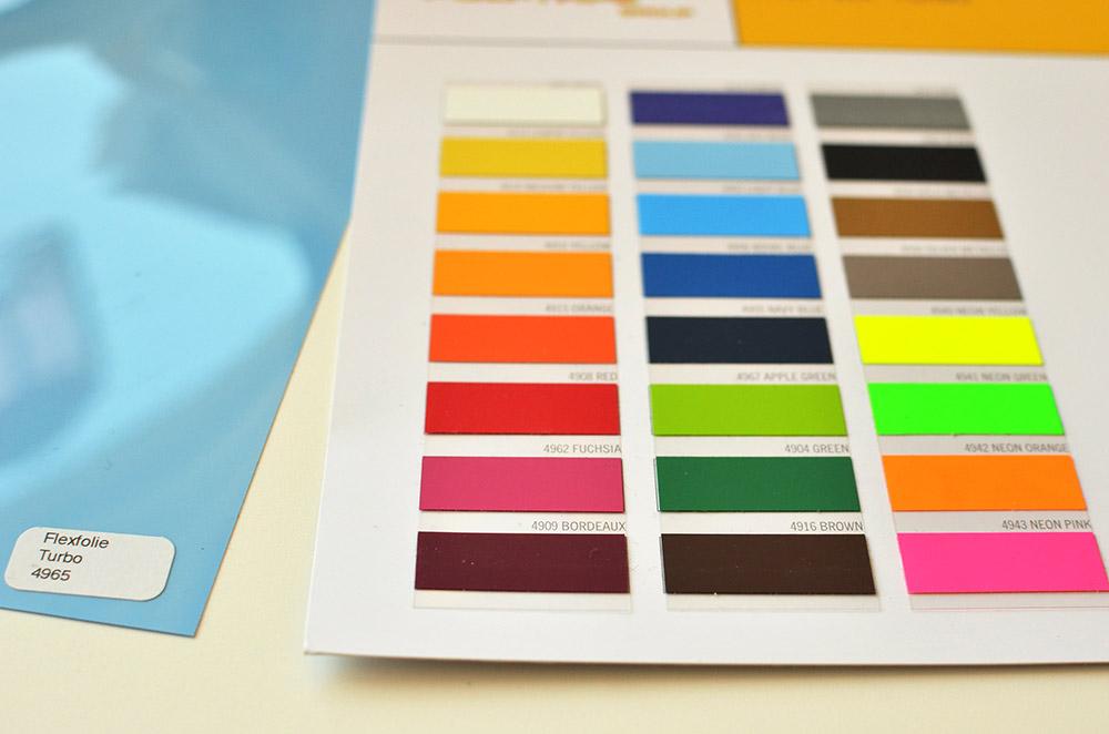 Farbkarte Turbo-Flexfolie fürs Plotten auf Softshell