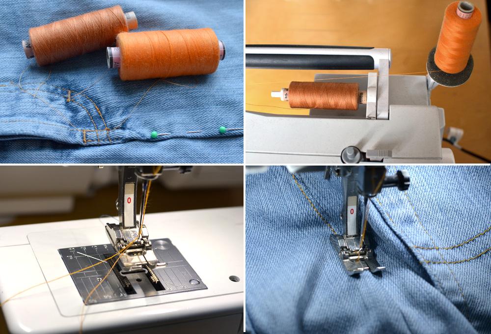 Jeans absteppen: Der trick mit dem doppelten Nähgarn