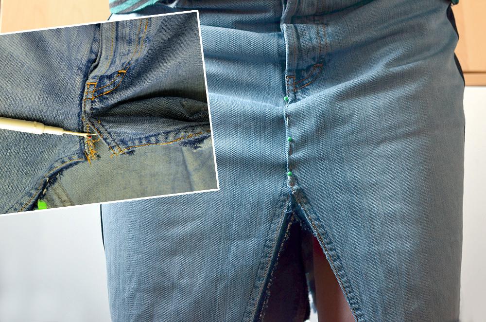 Jeansrock aus Jeanshose nähen: Vordere Nähte anpassen