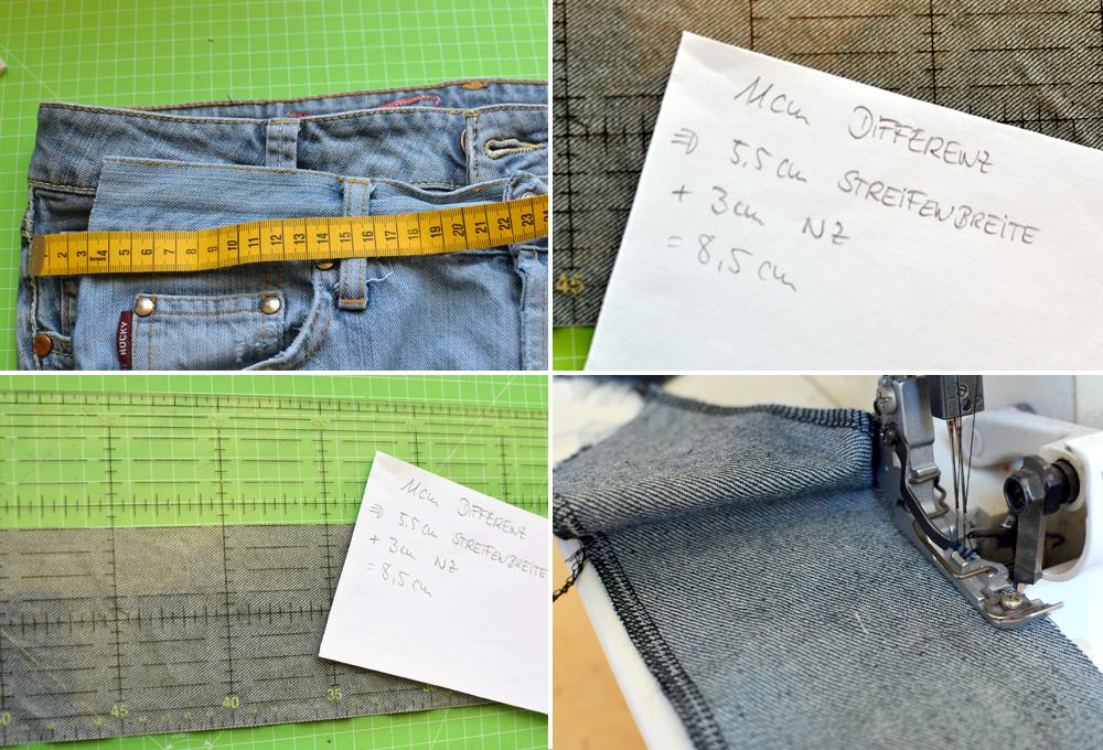 Jeans-Upcycling: Seitliche Streifen zuschneiden