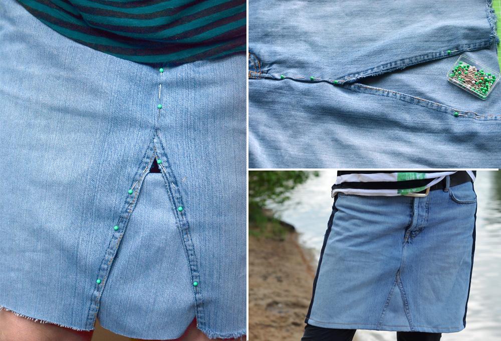 Jeans Upcyclingrock nähen: Zusammenstecken