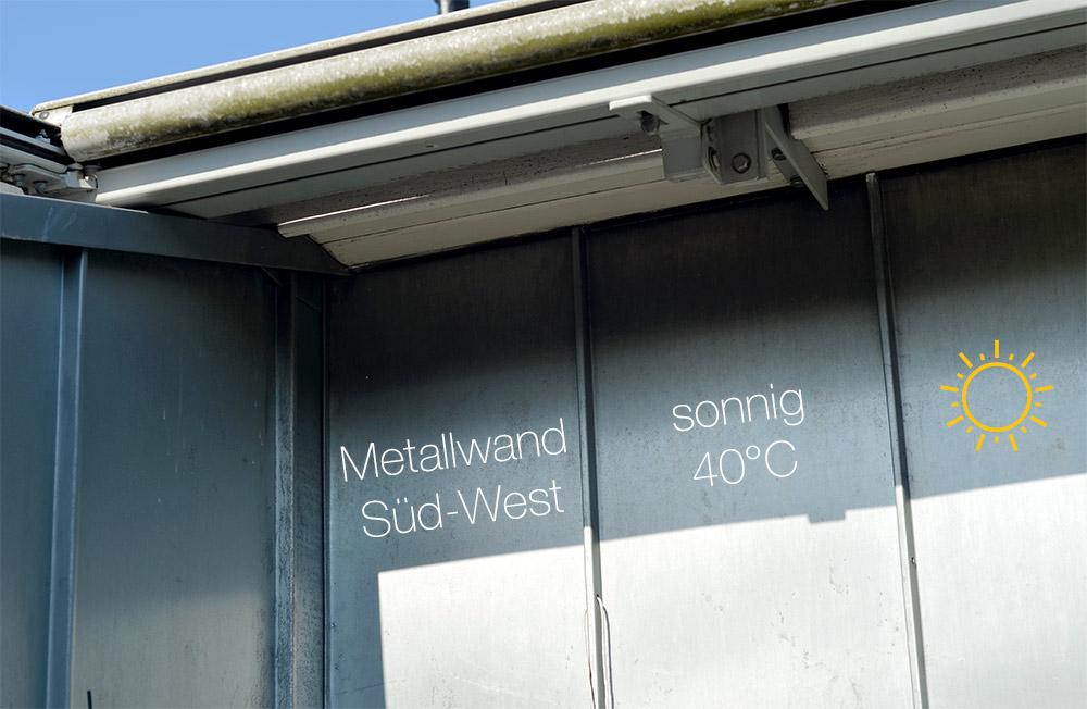 Balkon / Terrasse Südwest, sehr heiß, Metallwand