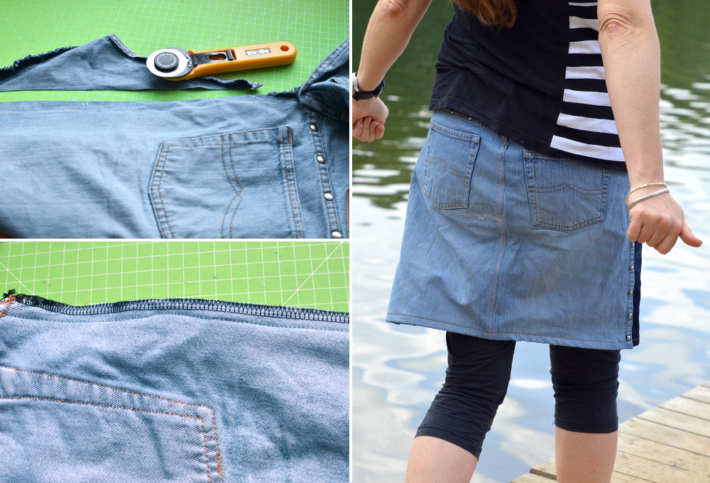 Upcyclingrock aus Jeans: Hintere Nähte nähen