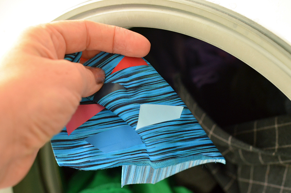 Plotterfolie auf badestoff in der Waschmaschine