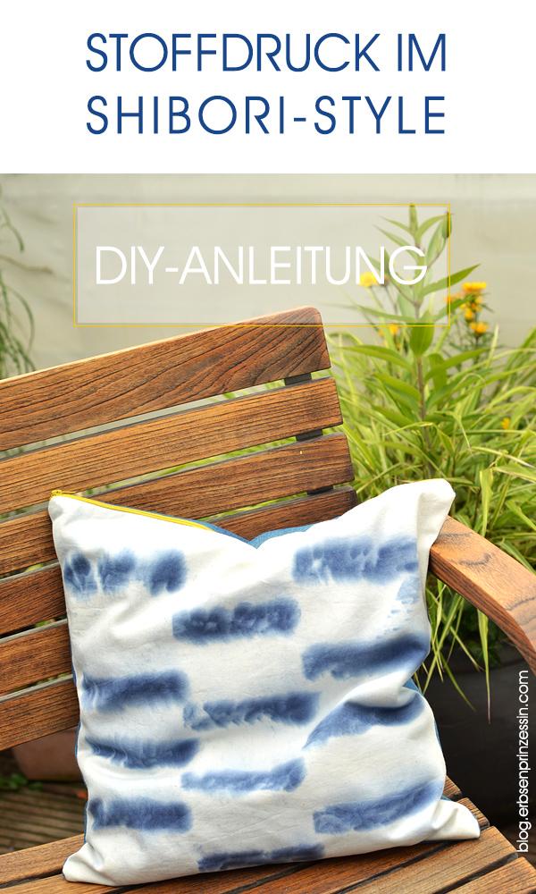 DIY-Anleitung: Stoffruck im Shibori-Stil mit Jeansblau-Färbetüchern, Shibori-Batik auf Stoff