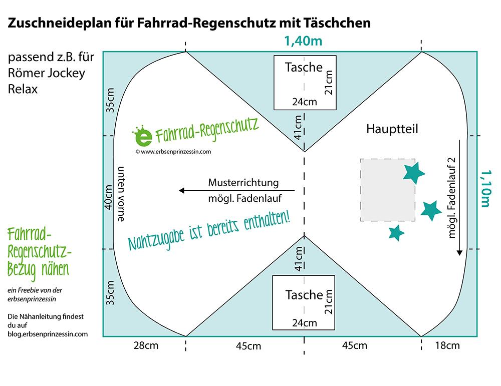 Download erbsenprinzessin-freebie-zuschneideplan Fahrrad Regenschutz Nähanleitung kostenlos