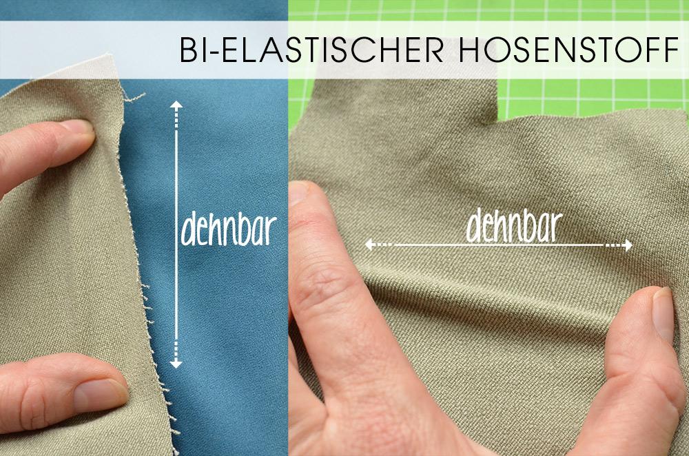 Reithose nähen, Materialien: Bi-elastischer Hosenstoff