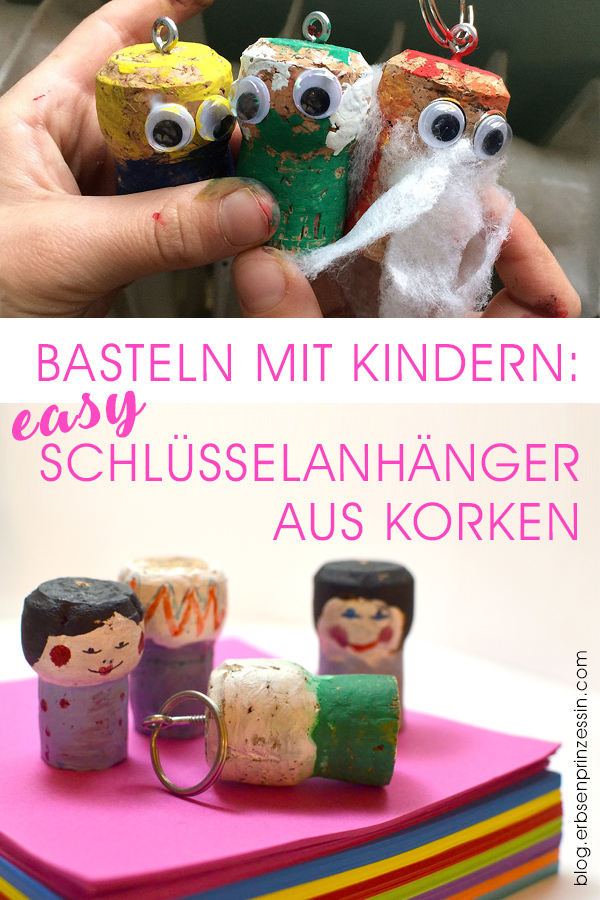 Basteln mit Grundschulkindern: Schnell gemachte Schlüsselanhänger / Figuren aus Korken
