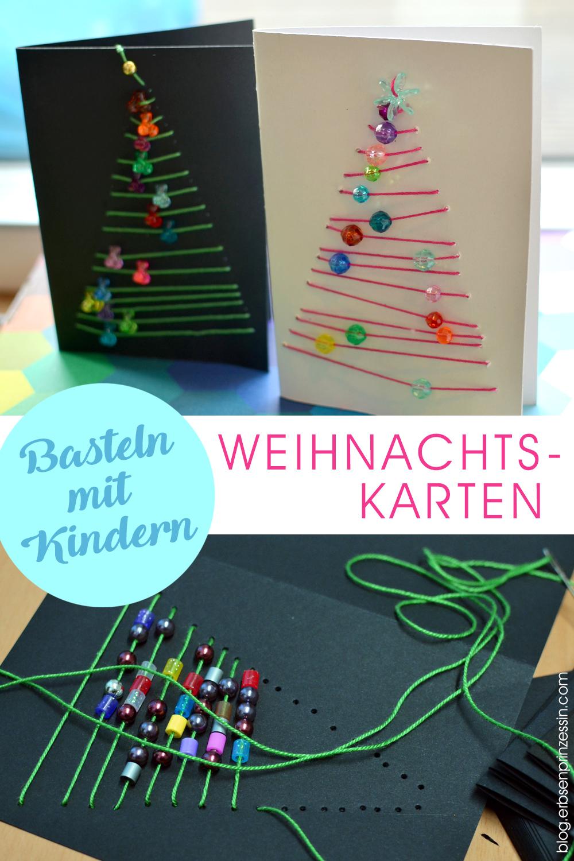 Basteln mit Kinden: Weihnachtskarten mit Perlen sticken bzw. nähen