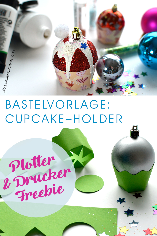 Bastelvorlage Cupcake Holder für Plotter und Drucker, Muffin-Förmchen