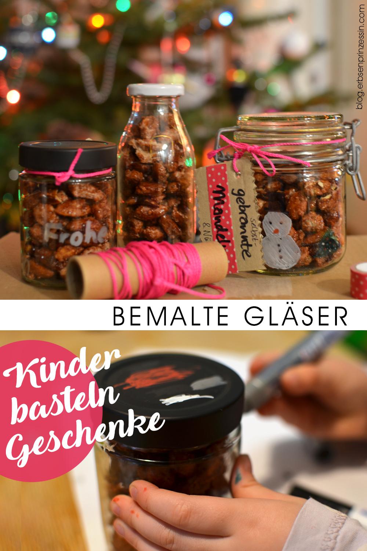 Kinder basteln Geschenke: Gläser und Flaschen bemalen, mit Keksen oder Mandeln füllen