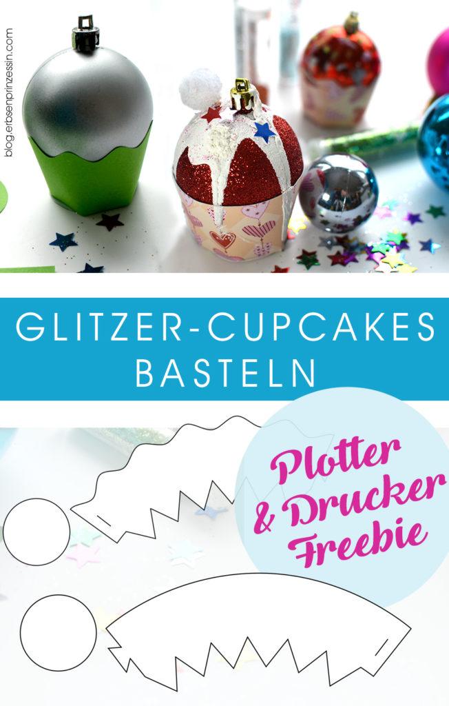 Glitzer-Cupcakes basteln: Freebie Druckervorlage Plotterdatei svg cut