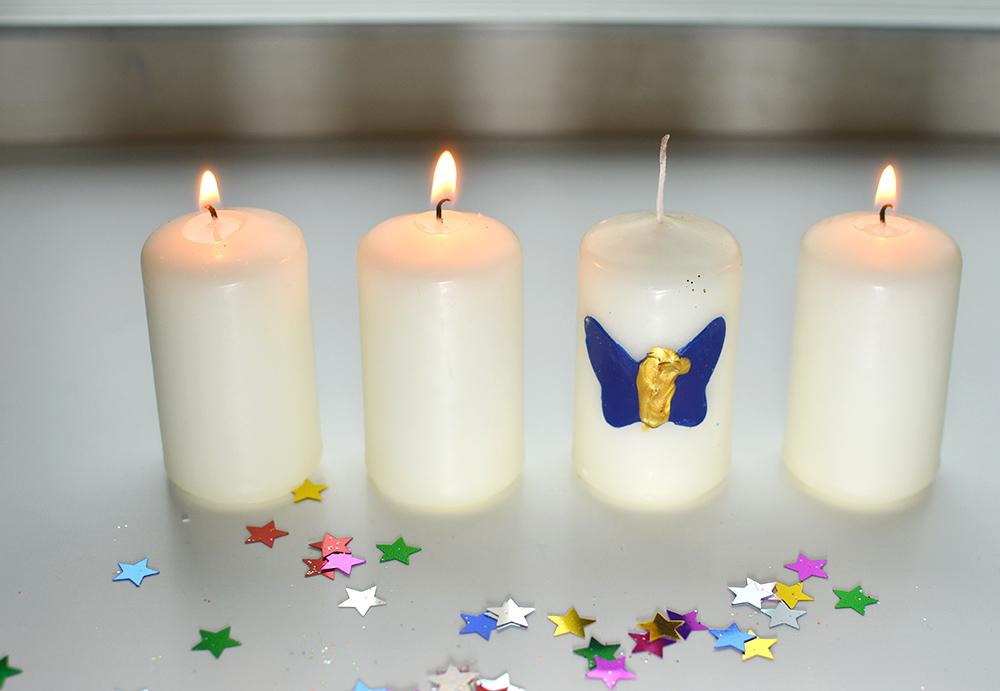Kerzen bemalen und bekleben mit Kindern