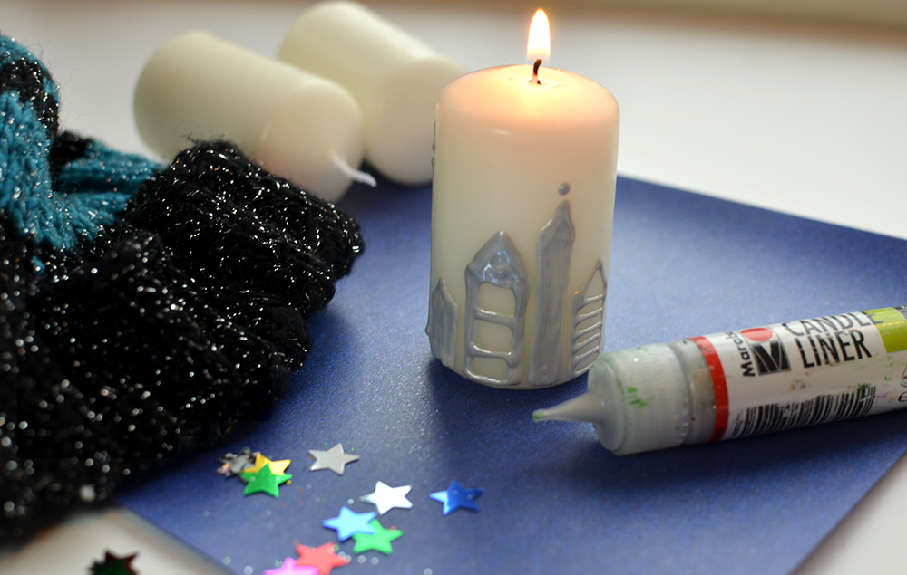 Kerzen bemalen mit Kerzenmalstiften