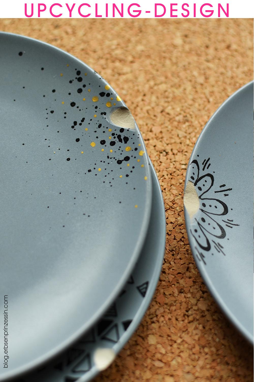 Upcycling-Designidee für Keramik-Teller mit Macken