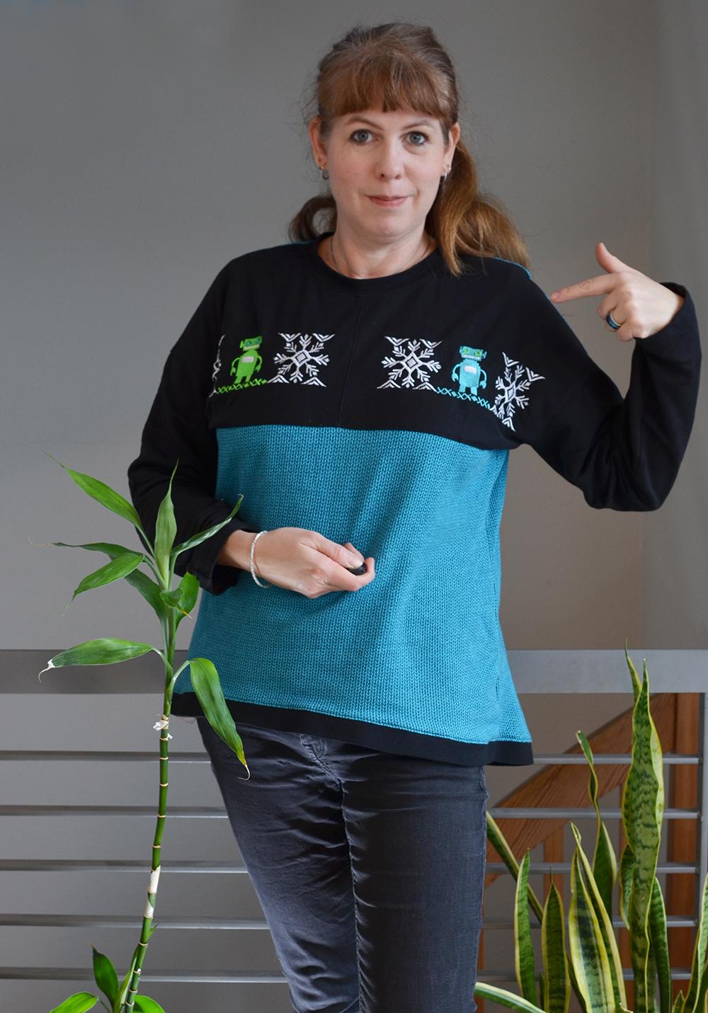 Upcycling Sweater, bestickt und genäht