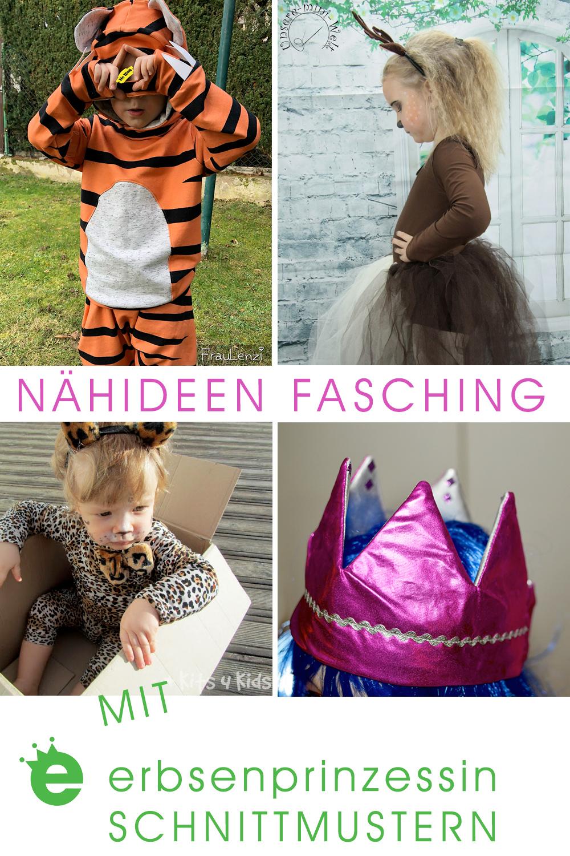 Kostüme für Kinder nähen: Nähideen nach erbsenprinzessin Schnittmustern. verkleidung Pfau, reh, Tiger, Raubkatze, Krone, Einform, Indianer, Außerirdischer, Seiltänzerin