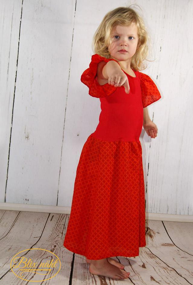 Kinder-Kleid mit Flügelärmeln nähen