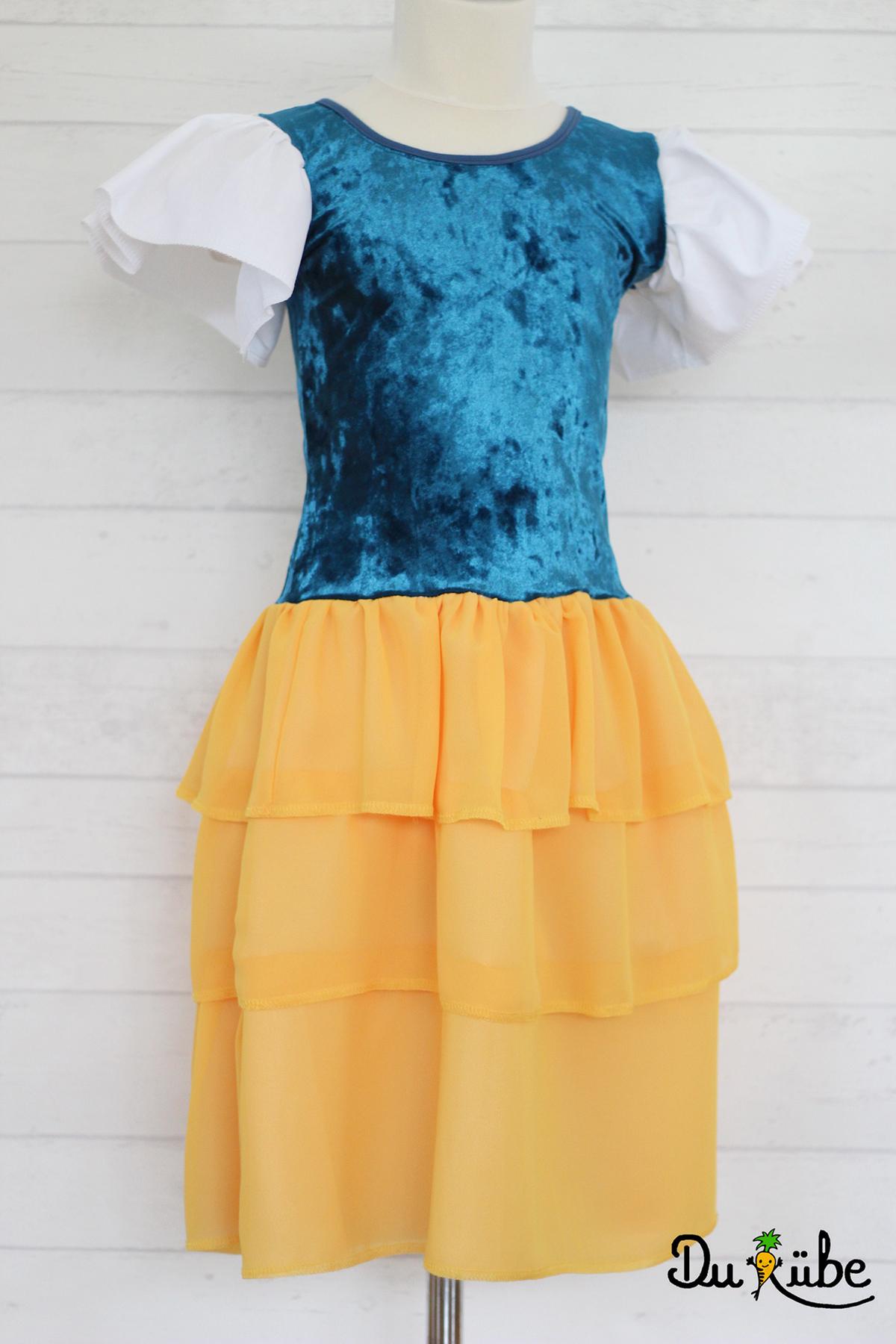 Rüschenkleid Prinzessin in blau gelb, genäht von Du Rübe