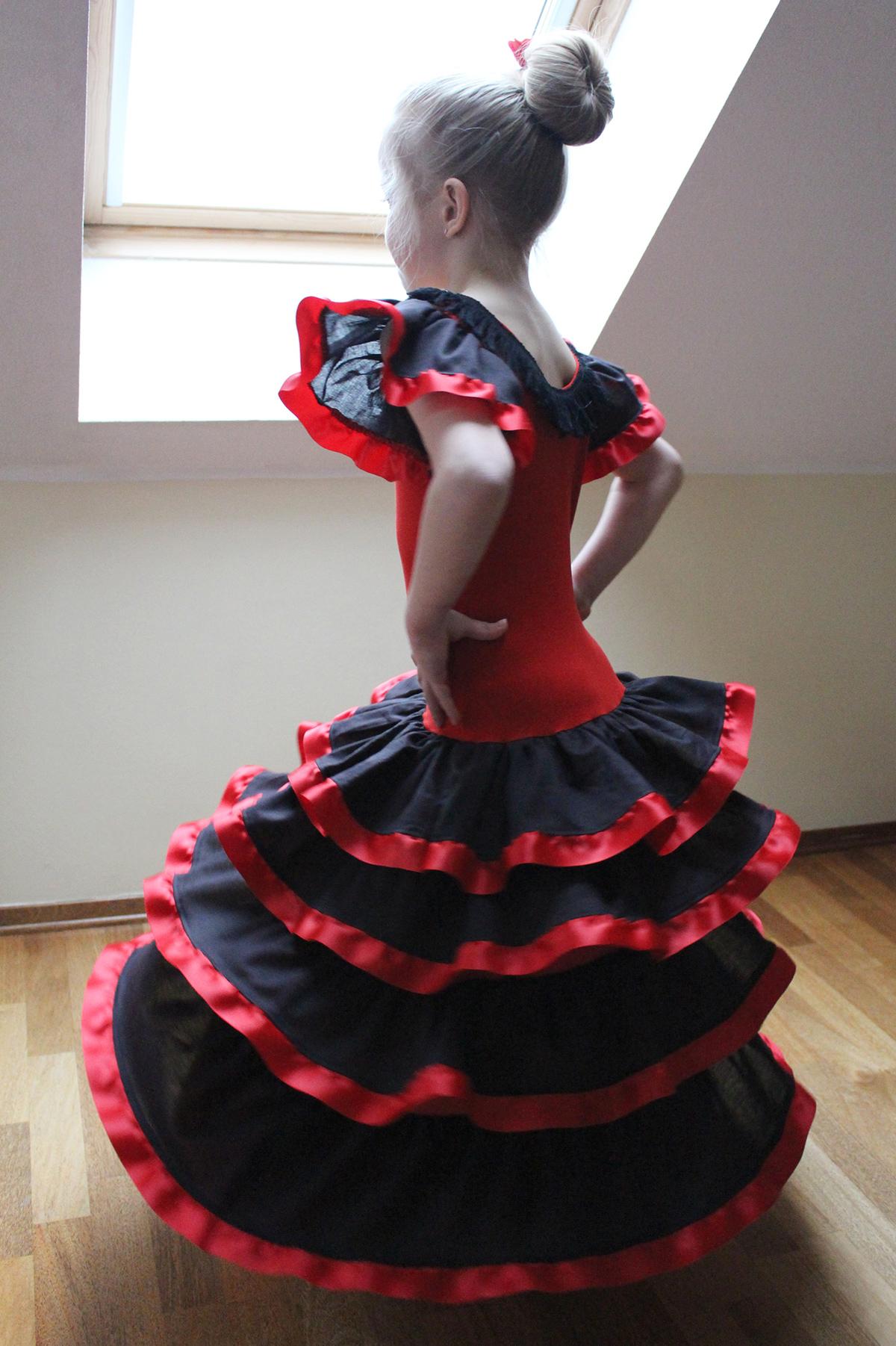 Flamencokleid genäht von kroschka, für Fasching und Tanzauftritt