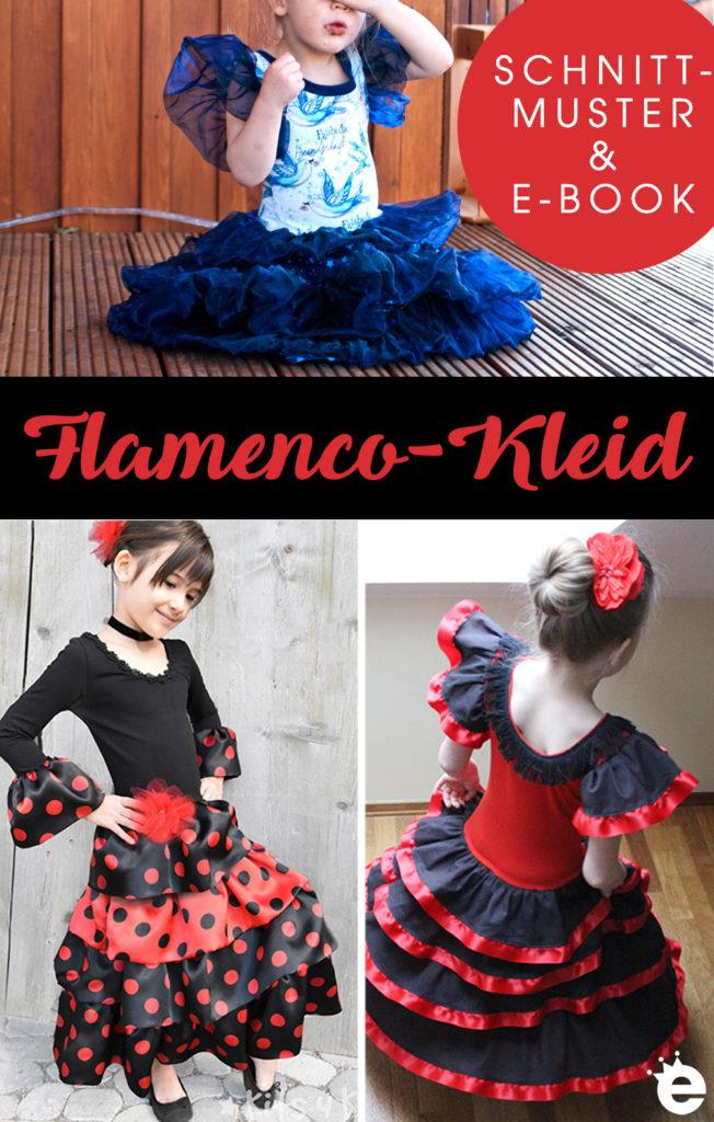Schnittmuster und Näh-e-Book Flamencokleid mit Rüschen für Mädchen #verkleiden #fasching #karneval #tanzkleid