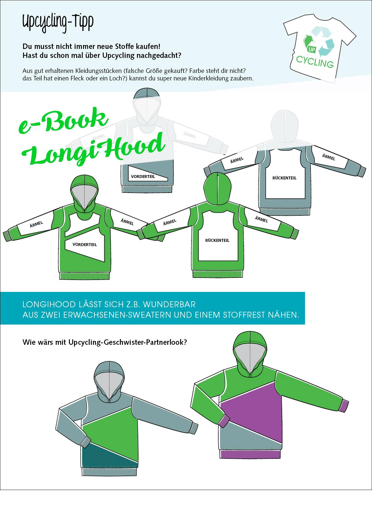 Upcyclingtipp für Hoodie: Kinder-Sweater LongiHood nähen
