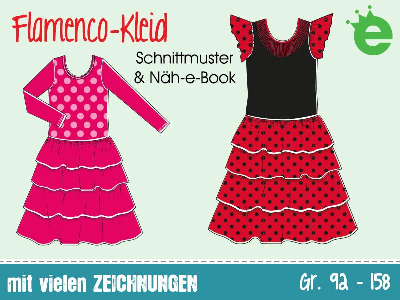 Flamenco-Kleid für Mädchen, Kindergrößen: Schnittmuster und Näh-e-book