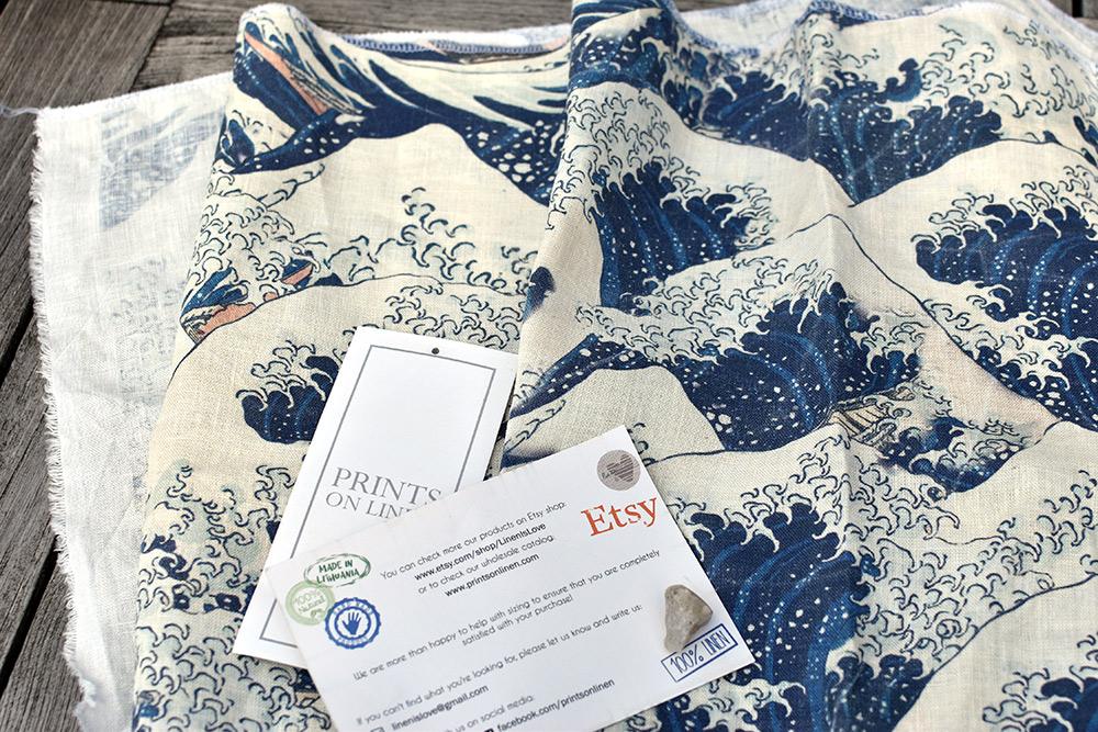 bedruckter Leinenstoff große japanische Welle von Prints on Linen