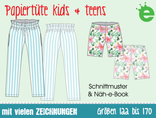 Papiertüte kids & teens - die Paperbag Hose für Mädchen. Schnittmuster und Näh-e-book