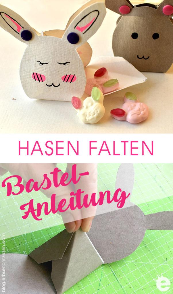 Osterhasen basteln: Anleitung und gratis Vorlage gefaltete Hasenboxen