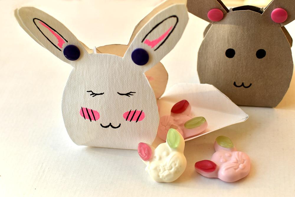 Süßigkeiten-Geschenkschachtel für Ostern in hasenform