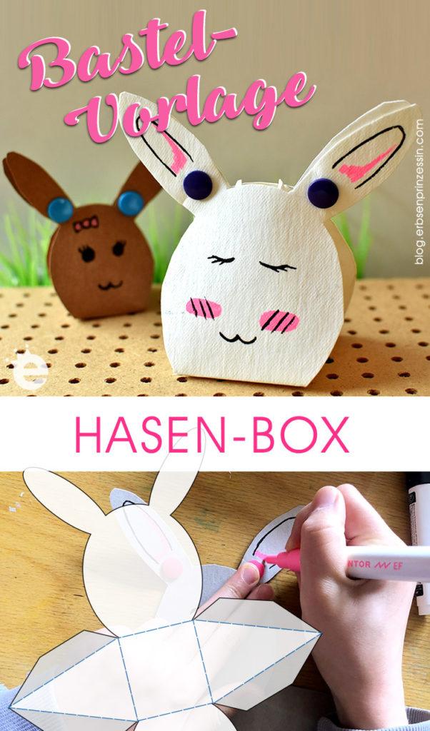 Osterhasen-Schachteln falten, Anleitung und Schablone gratis Download