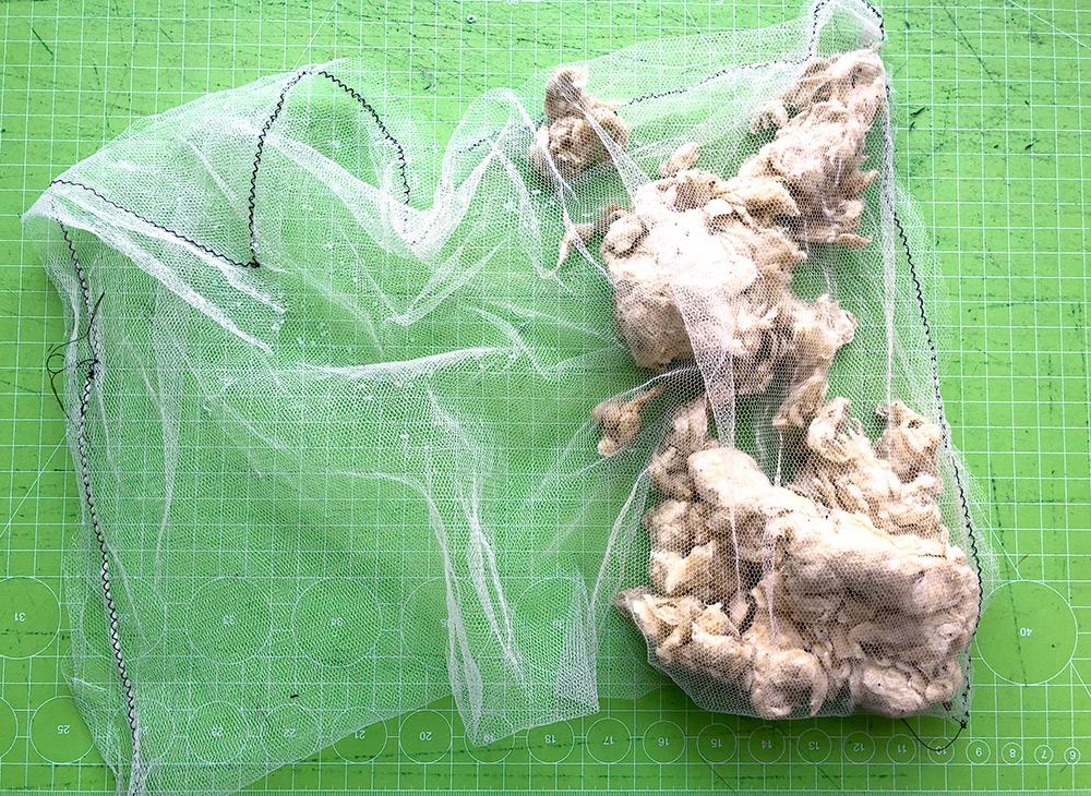 selbstgemachte pappelwolle gewaschen